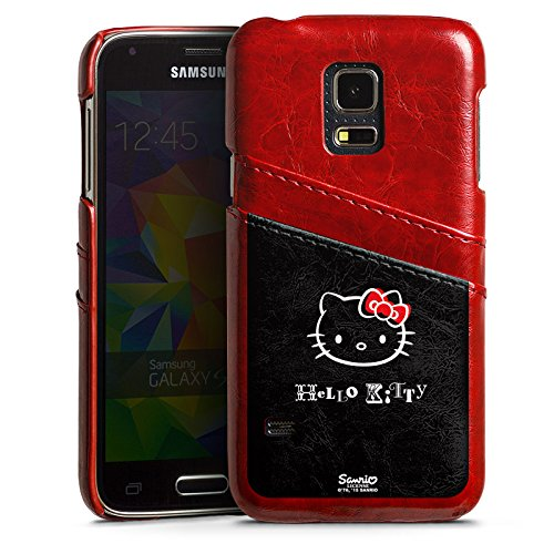 Samsung Galaxy S5 mini Lederhülle Leder Case mit Schlitz für Kreditkarte Brieftaschen Cover Hello Kitty Merchandise Fanartikel Love