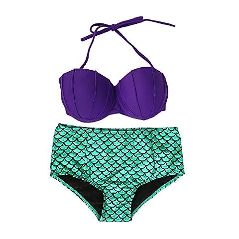 JNTworld Femmes Mermaid Maillot de bain 2 pièces Bikini Halter Top, M, Violet & vert