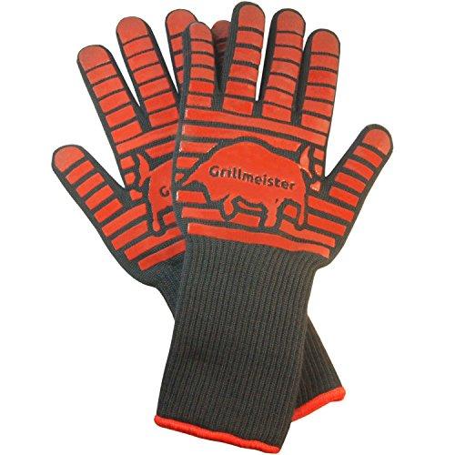 Guantes Grillmeister® premium XXL Caliente la parrilla rayas resistentes silicona extra largos guantes de horno , guantes de cocina de calidad a los guantes de horno EN407 profesionales, guantes para el horno a 350 grados