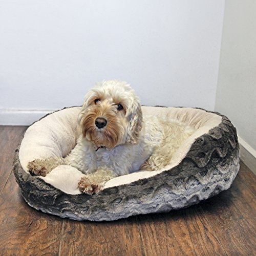Rosewood-40-Winks-Snuggle-Plush-Pet-Bed-20-inch-GreyCream
