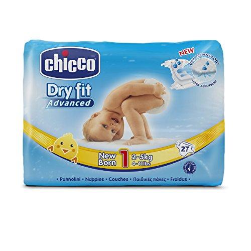 Chicco DryFit - Pack de 27 pañales ultra absorbentes para recién nacido,...