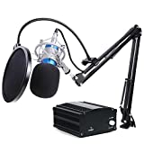 #8: Wright Professional Studio Broadcasting Recording Condenser Microphone with 48V phantom power & KH-35 Adjustable Recording Microphone Suspension Scissor Arm Stand with Shock Mount and Mounting Clamp Kit
