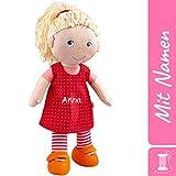 HABA Stoffpuppe Annelie mit Namen Bestickt, weiche Erste Baby Puppe mit Kleidung und Haaren, 0-5 Jahre Kuschelpuppe Taufgeschenk, Geschenk zur Geburt / Taufe 302108 -