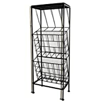 marymarygardens Black Metal Freestanding Magazine Rack with Table Top and Two Sections