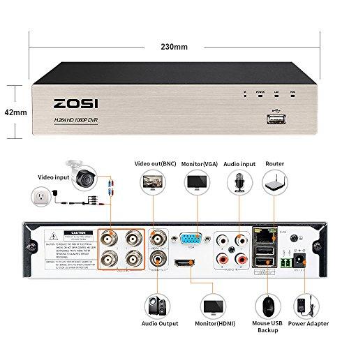 ZOSI-4CH-4-Cmaras-DVR-1TB-Disco-Duro-720P-Impermeable-Deteccin-de-Movimientos-Visin-Nocturna-20m