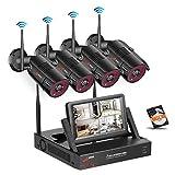 SWINWAY WLAN Überwachungskamera Set, Drahtlose Heimüberwachung Kamera Kit mit 7inch Monitor NVR, mit 4 STK 1080P Wasserfeste IP Kameras mit 36 IR LEDs Nachtsicht, Remote Zugriff, 1TB Festplatte
