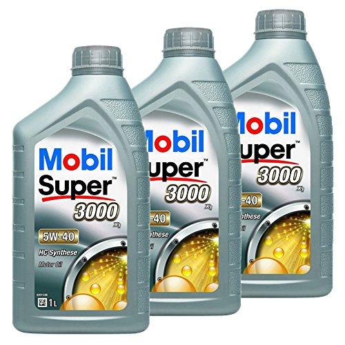 3x 1 L Liter Mobil Super™ 3000 X1 5W-40 Motor-Öl Motoren-Öl; Spezifikationen/Freigaben: ACEA A3/B3, A3/B4; API SN/SM; AAE (STO 003) Group B6; MB-Approval 229.3; VW 502 00/505 00; BMW Longlife-01; Pors