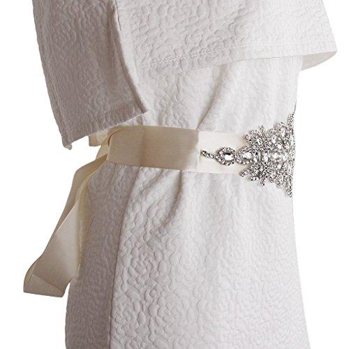 Ceinture de Mariage Ruban Strass pour Robe de Mariée Blanc Crème