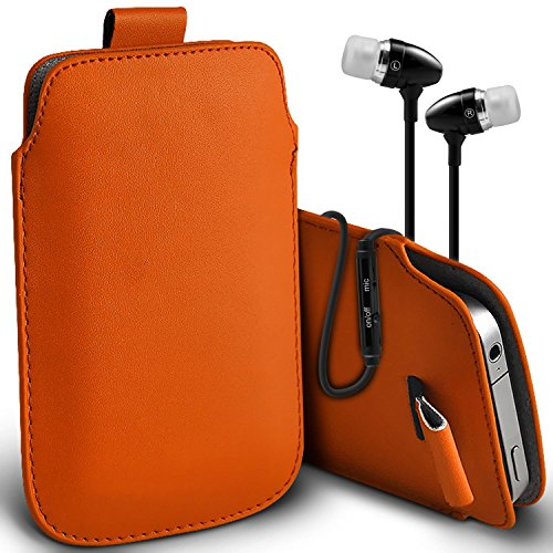 ( Red + Ear phone ) Pouch Case for iPhone 7 Mobile Phone Case Premium Stylish Faux Leather Pull Tab Pouch Skin Case Cover Various Colours To Choose From With High Quality Fitted in Ear Buds Stereo Han Pull tab + earphones (Orange)