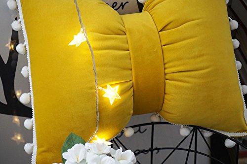 JWKZ Super voller Ball, Fliege, Kissen, Nordic Kissen, waschbare Taille, schwarz-weiße Streifen, 35X40cm (medium), Senf gelb (Samt) -