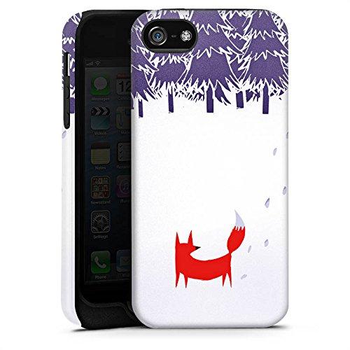 Apple iPhone 5s Housse Étui Protection Coque Forêt Renard Art Cas Tough terne