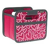 Meori Faltbox - Mini 1,8L, 16,5 x 14 x 12,5 cm, verschiedene Farben Kofferraumtasche, Klappbox, Kofferraumbox Organizer, Autobox, Tasche, Auto, Kofferraum faltbare Autotasche, Klappkorb, einkaufstasche einkaufskorb Herzen