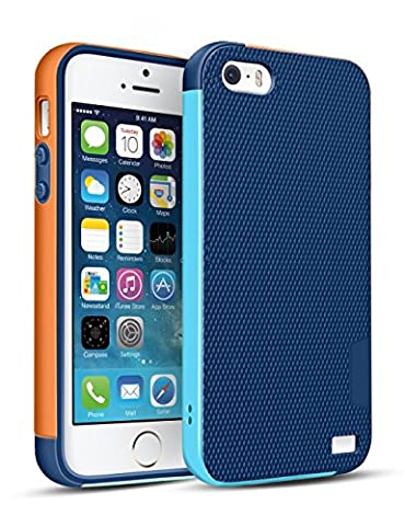 Coque iPhone SE/5/5S [Ultra Hybride]TPU Anti-Choc Robuste Durable Double Protection Panneau Anti-Dérapant Étui Pour iPhone SE/5/5S [Bleu/Orange]