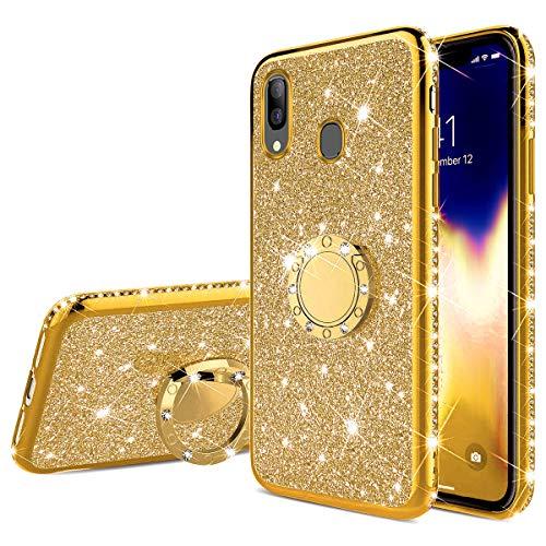Uposao Kompatibel mit Samsung Galaxy A40 Glitzer Handyhülle mit Ring Ständer Halter Kristall Bling Luxus Strass Diamant TPU Silikon Hülle Case Tasche Cover Transparent Handytasche,Gold