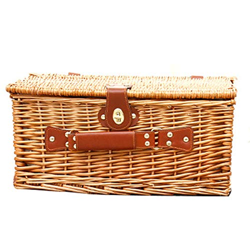LinaXin Weidenkorb-Picknick-GemüSekorb-Handgewebter Speicher-Frucht-SüßIgkeits-Ausgangsdekoration,Light -