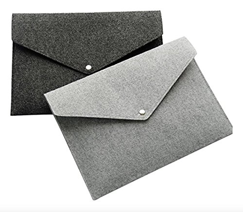 AiYoYo 2 Stück Filz Dokumententaschen din A4 Mappen Leicht und Tragbar Aktenordner Ideal fürs Büro Schule und Die Mobile Organisation 24 x 33cm