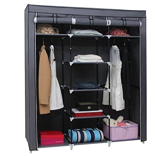 51bse63XtwL. SS500  - SONGMICS Canvas Wardrobe Bedroom Furniture Cupboard Clothes Storage Organiser Gray 175 x 150 x 45 cm RYG12G
