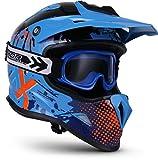 """Soxon® SKC-33 Set """"Fusion Blue"""" · Kinder-Cross-Helm · Motorrad-Helm MX Cross-Helm MTB BMX Sport · ECE Schnellverschluss SlimShell Tasche S (53-54cm)"""