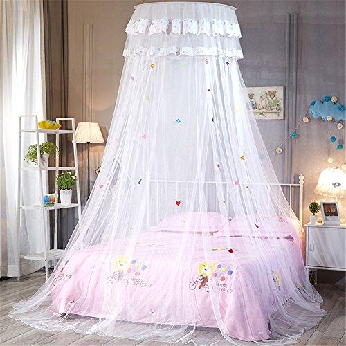 Somedays Moskitonetz, Infreecs Fliegennetz Mückennetz Rund Moskitonetz Baldachin Moskito Netz Insektennetz Insekten Schutz Vorhänge für Einzel oder - Doppelbetten Indoor or Outdoor (Weiß)