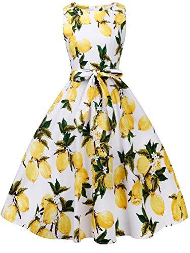 FAIRY COUPLE 50s Retro Blumen Cocktail Schwingen Party Kleid mit Bogen DRT017(XL,Weiße gelbe...