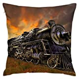 Klotr Kissenbezug, 18x18 Inches Square Throw Pillow Covers Steam Train Pattern Pillow Cushion Cases Premium Pillow Cases King for Couch Sofa Bed