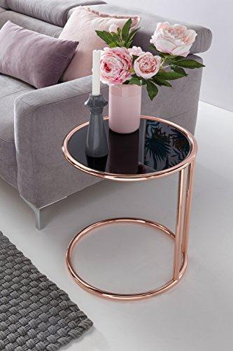 Finebuy Design En Verre Metal Table D Appoint O 45 Cm Noir Cuivre