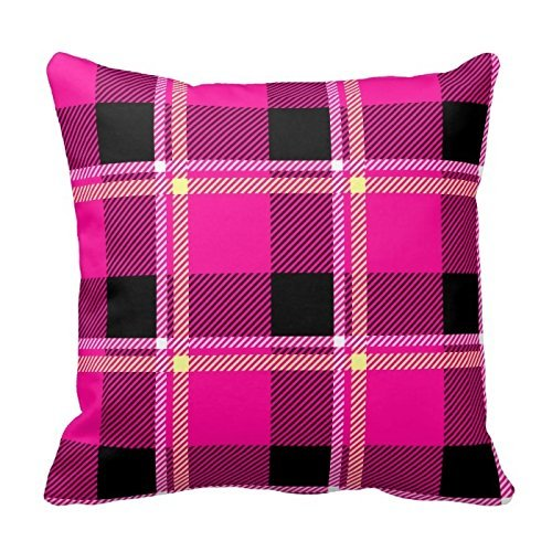 Hot Pink and Black Plaid Pattern Pillow Case Decor Cushion Pillow Covers Brief Design Pillowcase Cover Two Sides Hot Pink Plaid Design