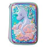 Smiggle Illusion Kids School, triplo astuccio portamatite rigido, per ragazzi e ragazze, tre scomparti con cerniera | Stampa di unicorni