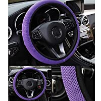 AKDSteel Car Steering Wheel Cover Net Fabric Four Seasons GM Anti-skid Non-apron Hand Brake Cover blue 36-39 universal -for auto