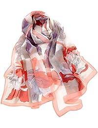 fb57c528656 BaZhaHei Foulard Femmes Voile Foulard Longue Châle Fleur Echarpe Doux léger  Respirant Echarpe Fine de Serviette