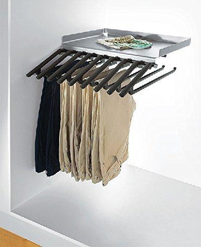 Hosentablar mit Ablage und 9 Kleiderbügel Hosenhalter ausziehbar Hosen-Auszug Kleiderschrank für 9 Hosen | Metall silber eloxiert | Hosenbügel mit Gummi Überzug | Möbelbeschläge von GedoTec®