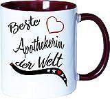 Mister Merchandise Becher Tasse Beste Apothekerin der Welt. Kaffee Kaffeetasse liebevoll Bedruckt Beruf Job Arbeit Weiß-Bordeaux