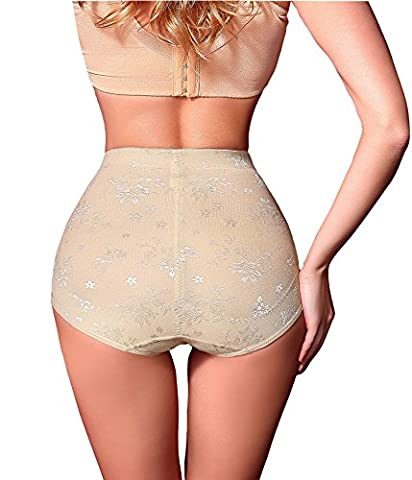 Antibacterial Comfort Panties Butt Lifter Shapers Hi-Waist Thigh Slimming (Large, Beige)