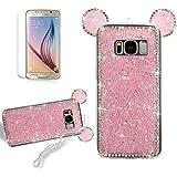 DIY Bling Strass mignon Dessin animé Lapin Ours Mouse oreilles Coque pour Samsung Galaxy S8