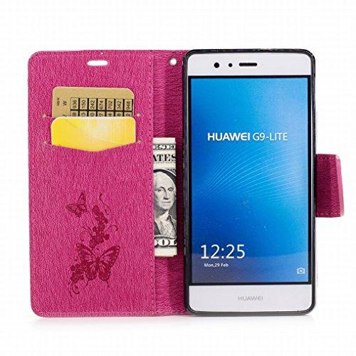 Custodia Huawei P9 Lite / G9 Lite Cover, Ougger Farfalla Stampa Portafoglio PU Pelle Magnetico Morbido Silicone Flip Bumper Protettivo Gomma Shell Borsa Custodie con Slot per Schede (Grigio) Rosa