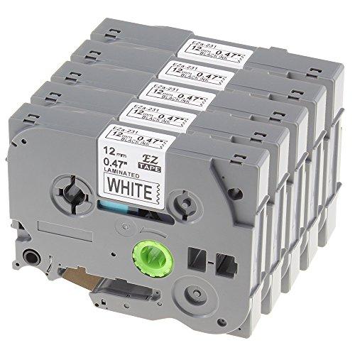 5 Pack Label Tape Nastro Cartucce Etichette Adesive Compatibile con Brother TZe-231 / TZ-231 | (1750 Etichette)