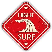 High Surf Beach Danger Sign Pegatina de Vinilo Para la Decoracion del Vehiculo 12 X 12 cm