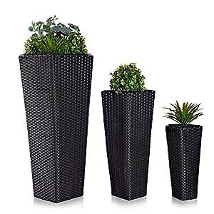 3x blumentopf rattan blumenk bel bertopf planzenk bel polyrattan set vase garten. Black Bedroom Furniture Sets. Home Design Ideas