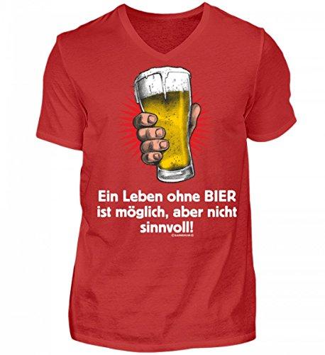 Shirtee Hochwertiges Herren V-Neck Shirt - Leben ohne Bier Nicht Sinnvoll - Das Lustige Geschenk für Bier-Fans - Original Tees-Paradise® Rot
