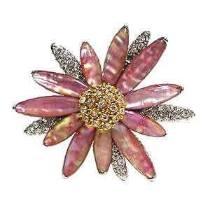 Broche Nacre Mode Femme Ecusson Cadeau Bijou Pins Petale Fleur TOURNESOL ROSE