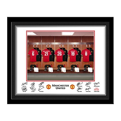 Official Personalised Manchester United Dressing Room Photo - Contemporary Black Frame - FREE PERSONALISATION