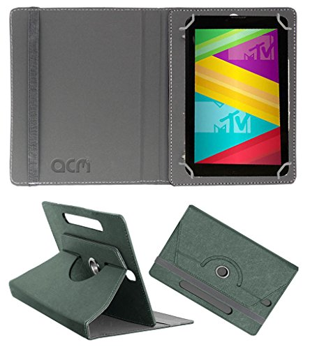 Acm Designer Rotating Leather Flip Case for Swipe Mtv Slash 4x Cover Stand Grey  available at amazon for Rs.169
