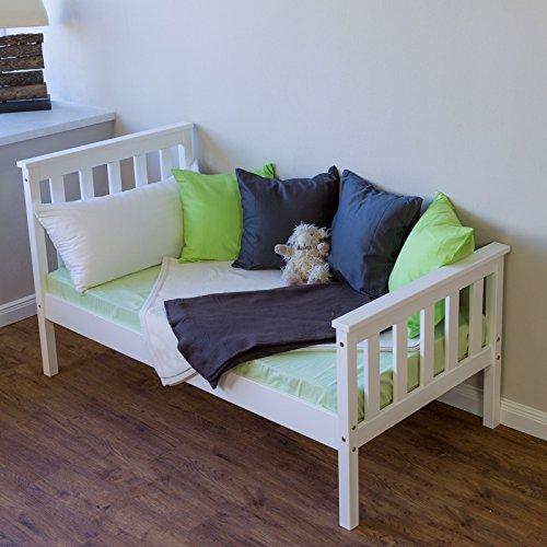 Homestyle4u 1417 Holzbett Kiefer massiv, Einzelbett aus Bettgestell mit Lattenrost, 70x140 cm, Weiß