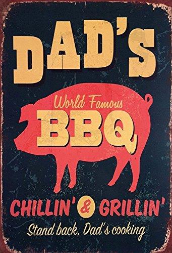 Dads BBQ Chillin & Grillin Grill schild aus blech, metal signs, tin