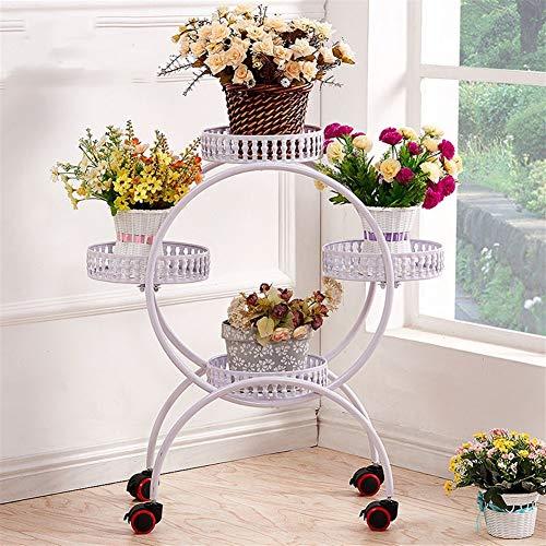 Stand per piante in metallo Stand per fiori con ruote Espositore per piante in ferro per la decorazione di interni per la casa PNYGJKHJ (Color : White, Size : 4-Tiered)