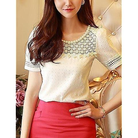 CBIN&HUA Camiseta de cuello redondo fotografica Lace Stitching Beads manga de soplo de la Mujer , white-2xl , white-2xl