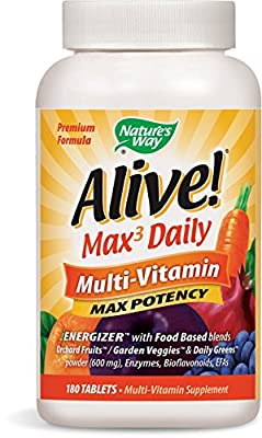 Natures Way Alive! Whole Food Energizer Multi Vitamin Max Potency (180 Vegetarian Tablets) by Nature's Way