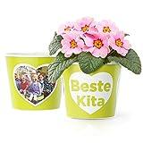Beste Kita! Blumentopf (ø16cm) | Kindergarten Geschenk zum Abschied Erzieherin mit Rahmen für zwei Fotos (10x15cm)