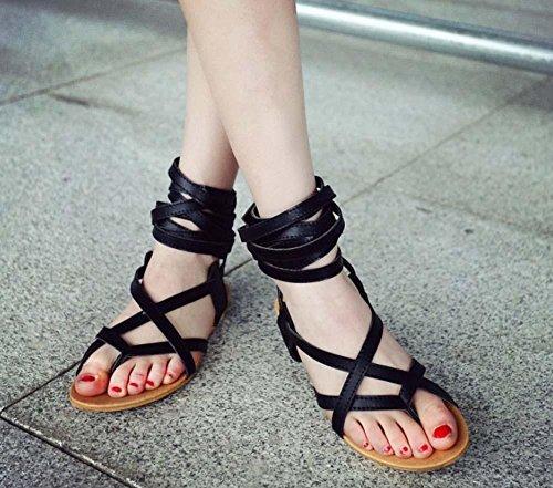 NobS Flip Flop cinghie stivali piatti Open Toe Sandals Grande Dimensione 33-48 pattini degli appartamenti donne romane Black