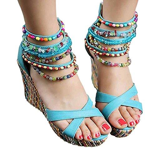 Odema sandal boemi con perline e con tacco grosso da donna Blue